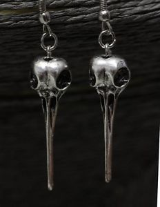 Wicca Raven Skull Earrings Hummingbird Bird Crow Goth Statement Antique Silver #jewelry #eBay