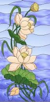 Stained Glass Pattern Lotus Blossoms