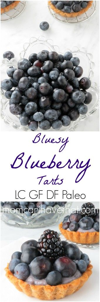 Bluesy Blueberry Tarts - blueberries, blueberry pastry cream and a shortbread crust | low carb, gluten-free, dairy-free, Paleo |