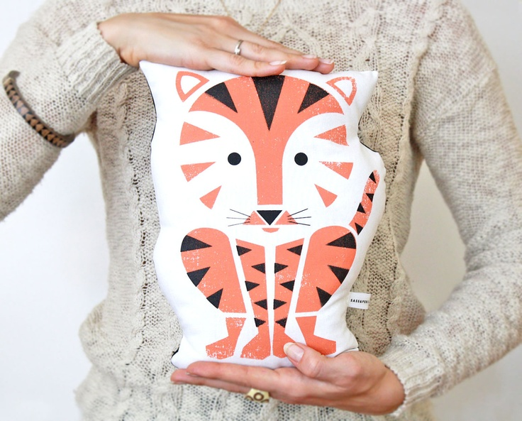 Tiger Pillow, Organic Cotton, Hand Screenprinted, 2 color. $40.00, via Etsy.