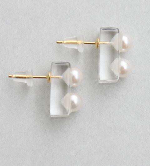 Clear × Pearl Earrings