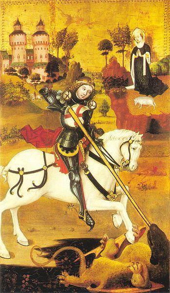 "St George and the Dragon, altar wing from the St. George Altarpiece, by ""The Master of the St. George Altarpiece,"" c. 1470. Klášter sv. Anežky České (Convent of St. Agnes), Prague."