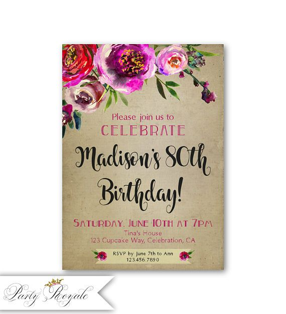 307 best Birthday Invitations for Women images on Pinterest 50th