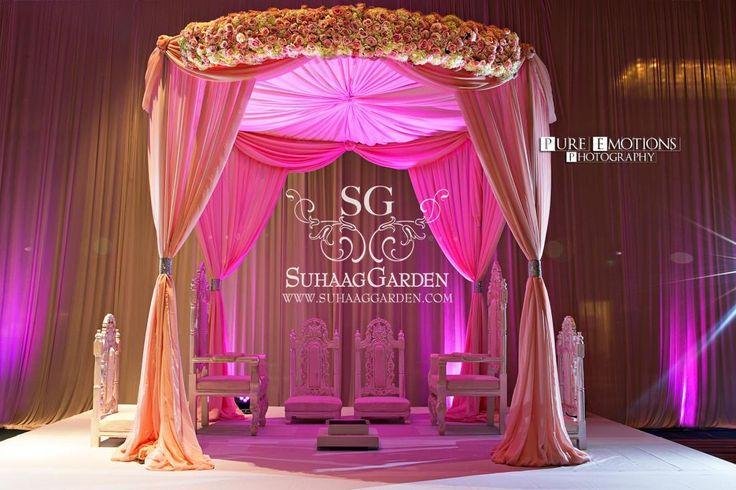 Florida wedding decorator, Indian wedding decorator, mandap, Suhaag Garden, pink fabric mandap