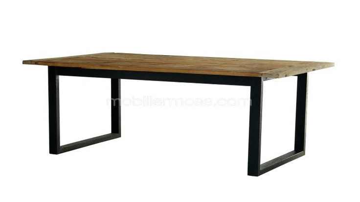 Table de salle manger industrielle bois 220 cm noldy for Table a manger retro