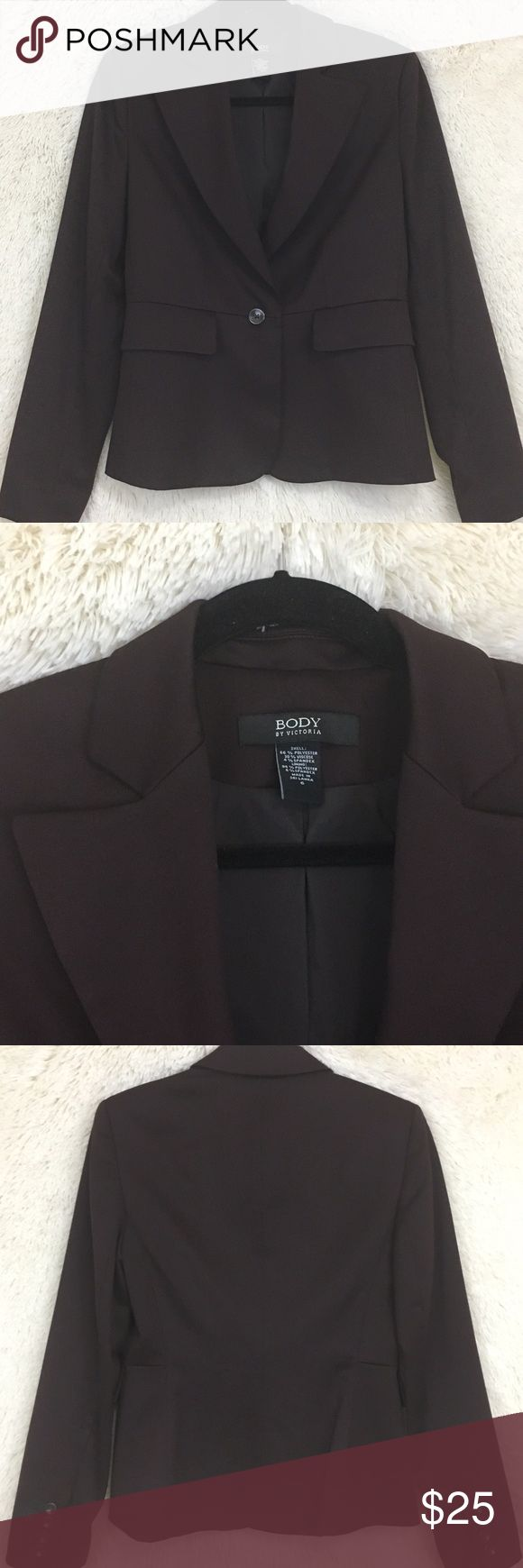 """Body by Victoria's Secret plum blazer size 6 Body by Victoria's Secret plum one button blazer. Padded shoulder. Size 6. Shell: 66% polyester, 30% viscose & 4% spandex. Lining: 94% polyester & 6% spandex. Approx flat lay measurements: 23.5"""" long, 34"""" bust, 31"""" waist & 36"""" hip, 24"""" sleeve, 6.5"""" arm hole. Dry clean only. Victoria's Secret Jackets & Coats Blazers"""