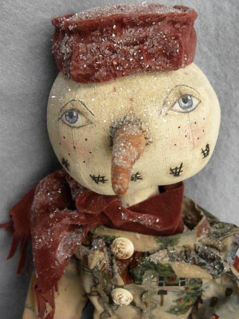 Primitive Doll Pattern Snowman Snowlady Primitive by mustardseed, $13.50
