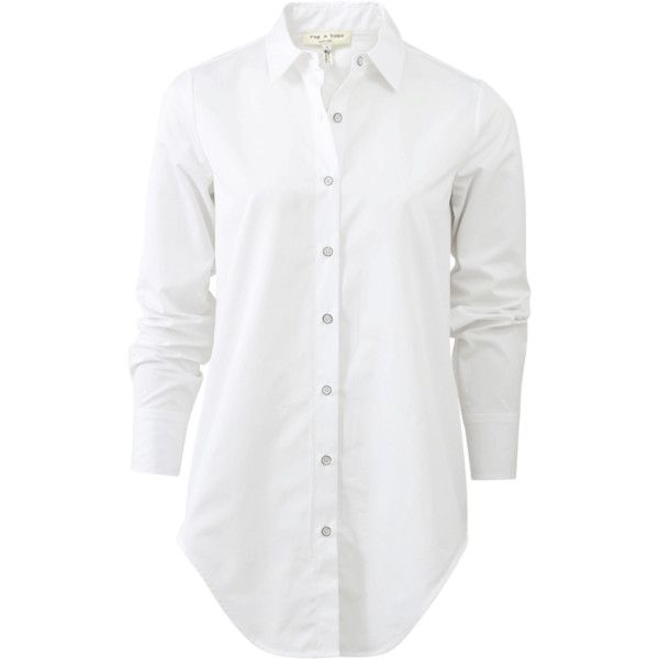 Rag & Bone Nightingale Shirt (£245) ❤ liked on Polyvore featuring tops, shirts, long white shirt, white shirt, button-front shirt, collared shirt and button collar shirt