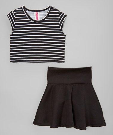 Loving this Black Stripe Crop Top & High-Waist Skirt - Toddler & Girls on #zulily! #zulilyfinds