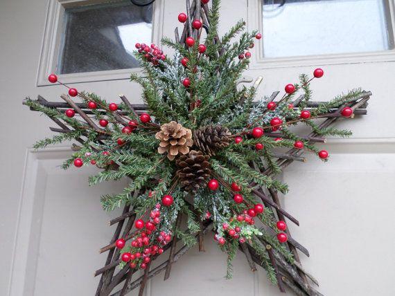 Christmas twig star wreath swag or decor with by allaroundtheyear