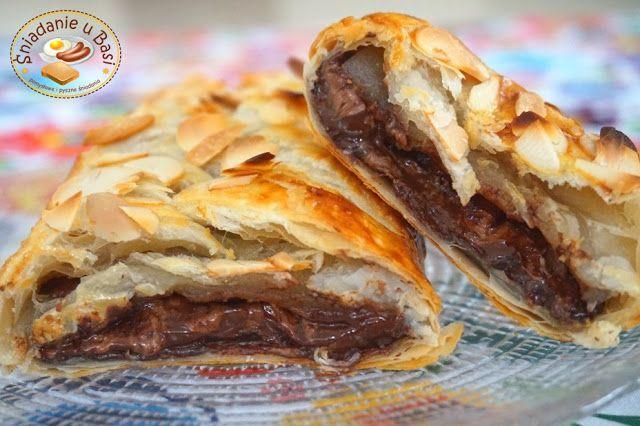 ...Pomysłowe i pyszne śniadania!: Czekoladowy warkocz z ciasta francuskiego