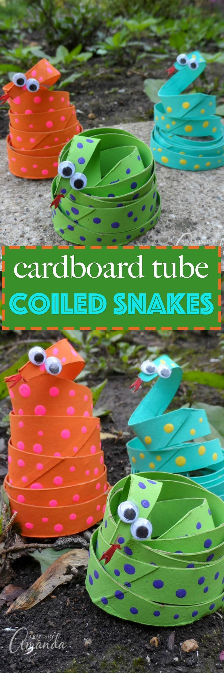 This cardboard tube coiled snakes craft is