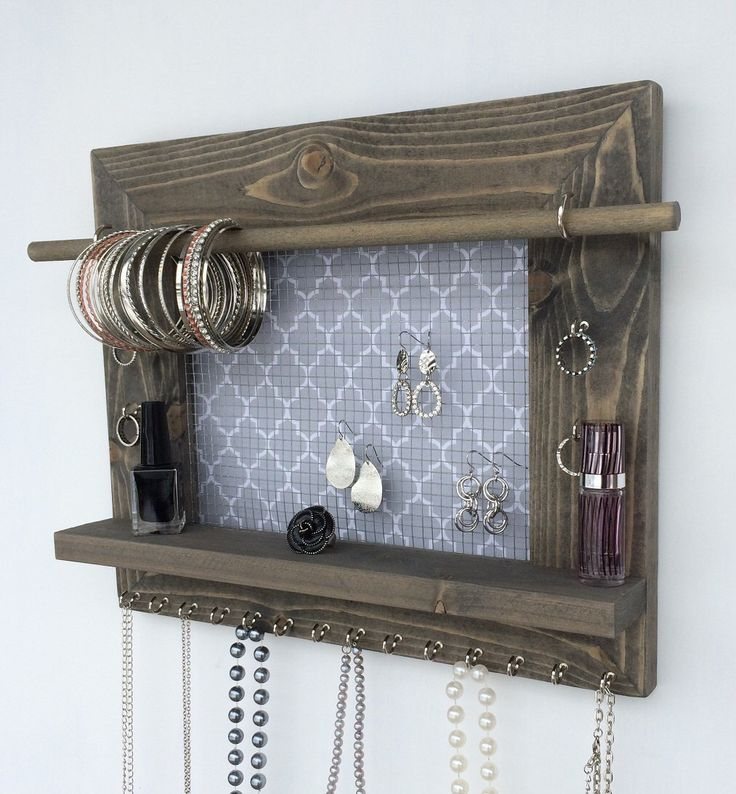 Jewelry Organizer FREE SHIPPING Wood Wall Hanging Display Holder Necklace Earring Storage Rack Frame With Shelf by DivaDisplay on Etsy https://www.etsy.com/listing/211135407/jewelry-organizer-free-shipping-wood