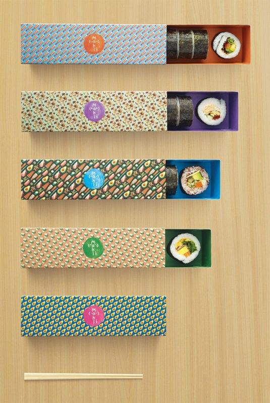 Kinetic Singapore has produced some perfect packaging for new sushi store Maki-San utilising fun, food-inspired repeat surface patterns.