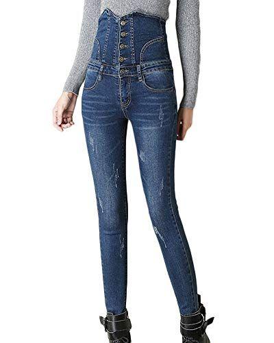 1ddc42d852c7 Jean Taille Haute Femme Simple Boutonnage Couleur Unie Coupe Slim Denim Pantalon  Skinny Jeans Bleu foncé