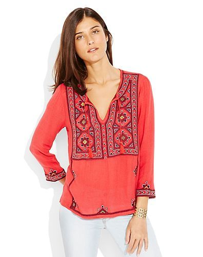 EMBROIDERED GEO TUNIC - LuckyBrand