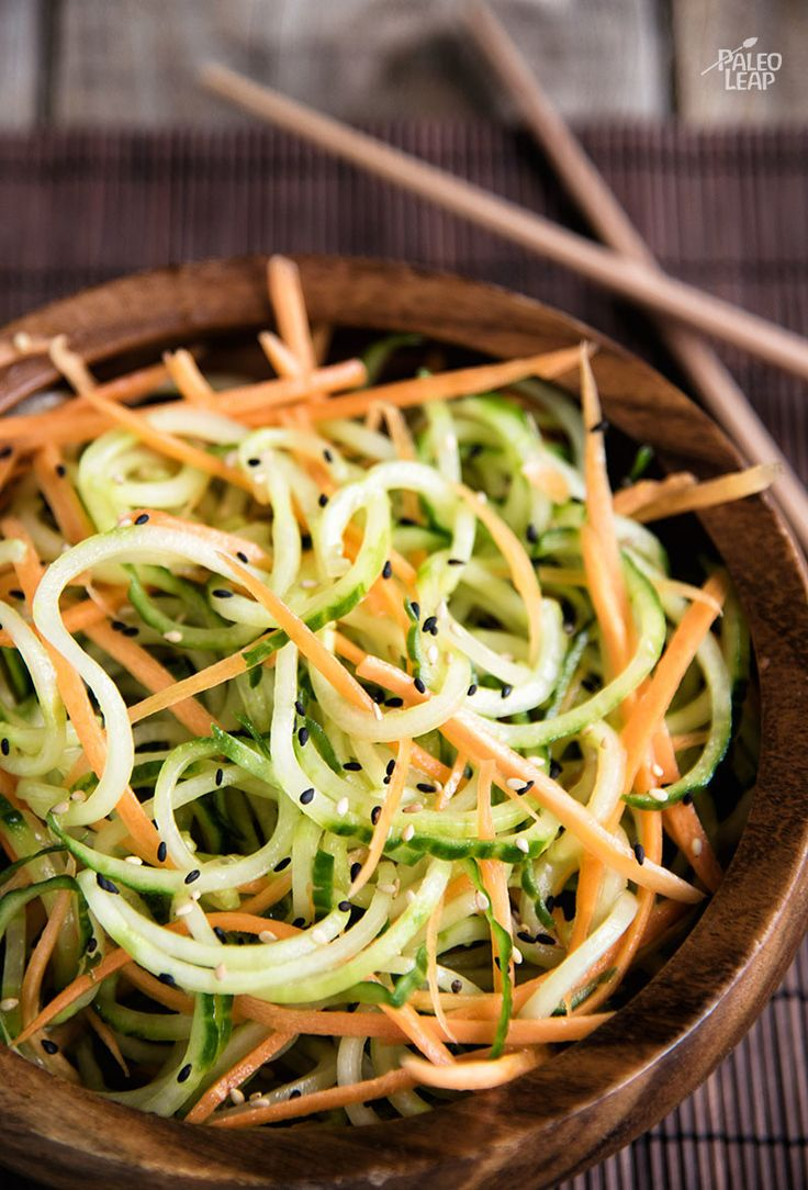 Cucumber And Carrot Salad. This summery salad features spiralized vegetables in a delicate vinaigrette. If you're tired of leafy salads, give it a try.