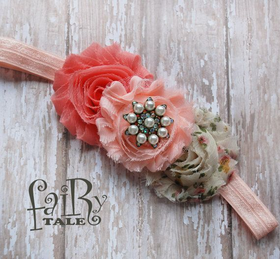 Coral and peach Vintage baby headbands, infant headbands, newborn headbans, baby accessories, pink headbands,shabby chic headbands, baby on Etsy, $10.99