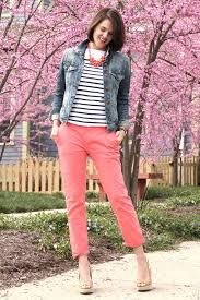 coral pants outfit - Google Search