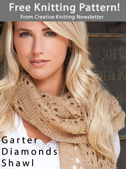 Garter Diamonds Shawl Download from Creative Knitting newsletter. Click on the photo to access the free pattern.