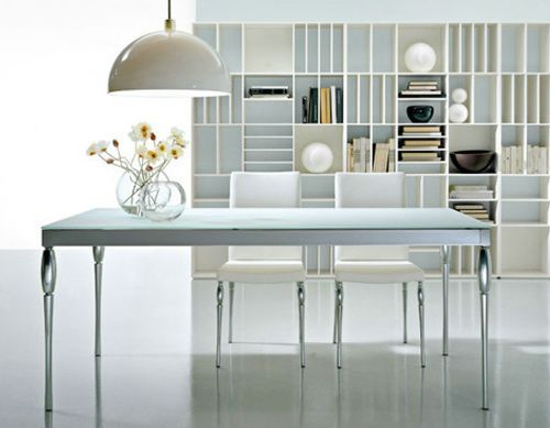 Glass Top Modern White Dining Table With Chairs And Bookcase In Contemporary  Room