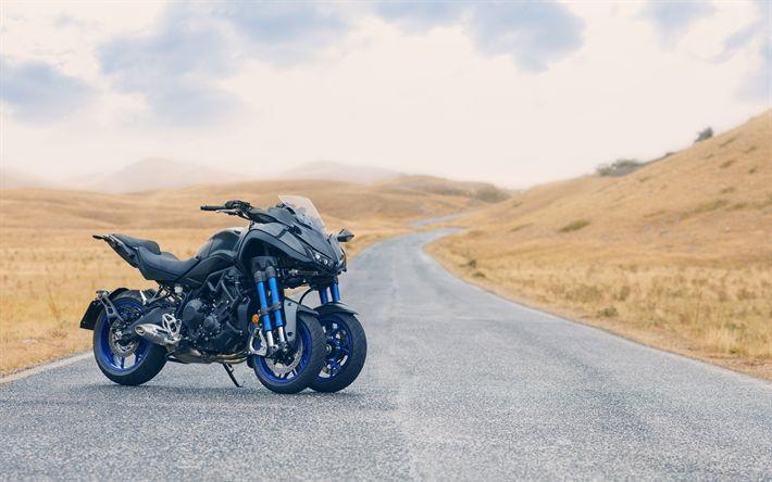 Download wallpapers 4k, Yamaha Niken, road, 2019 bikes, 3 wheel motorcycle, Yamaha
