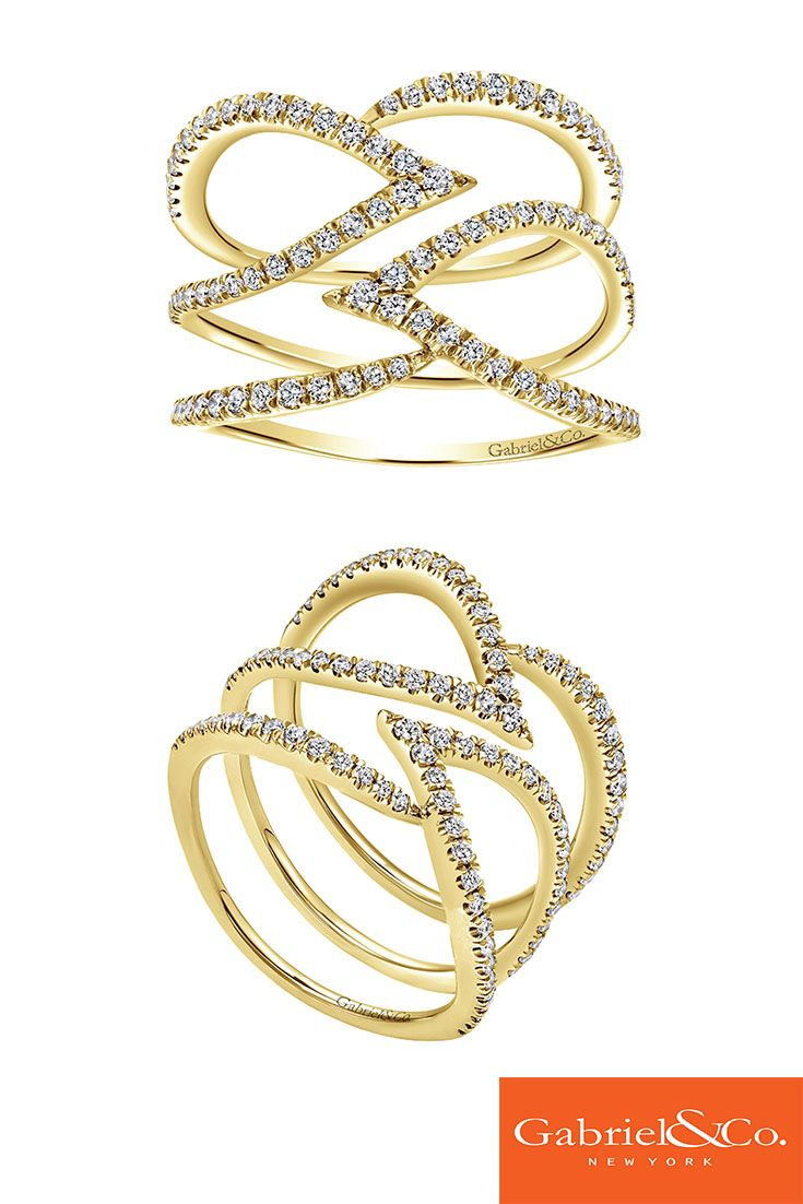 Stunning 14k Yellow Gold Diamond Fashion Ladies' Ring by Gabriel and Co. A fashionable and stylish ring to go with any outfit.