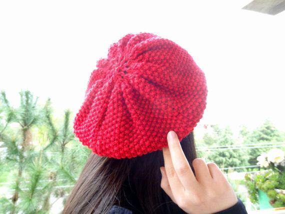 Red Hat BeanieKnit Beanie Hand Knitted Beanie Gift by SwomanStore, $30.00