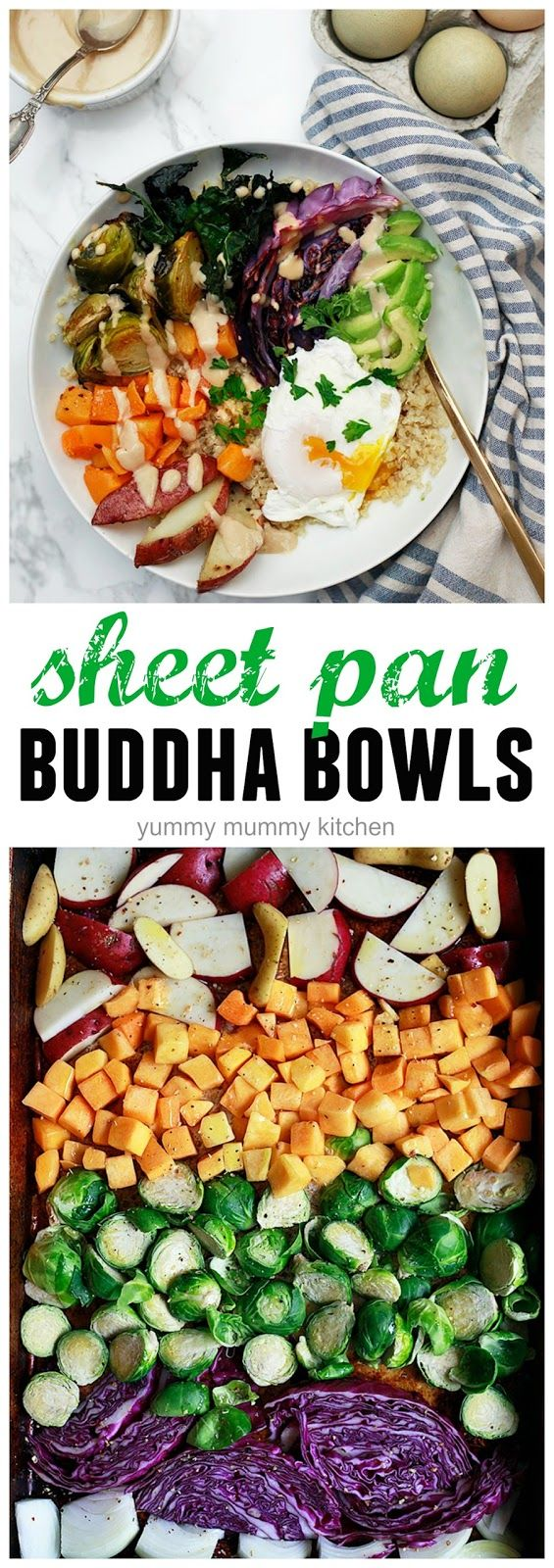 Sheet Pan Winter Buddha Bowls with Tahini Sauce | Yummy Mummy Kitchen | A Vibrant Vegetarian Blog