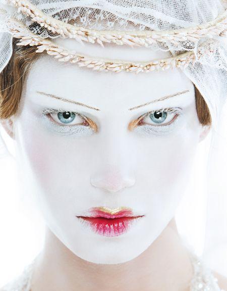 fantasy makeup. Bitten lips.