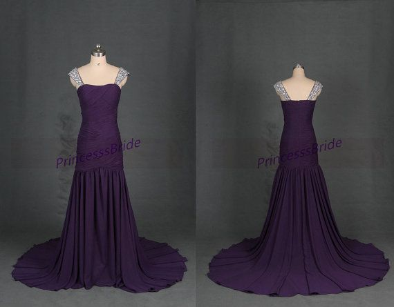 Long eggplant chiffon bridesmaid gowns with beaded straps,elegant women dress for wedding party,chic affordable prom dresses under 150.