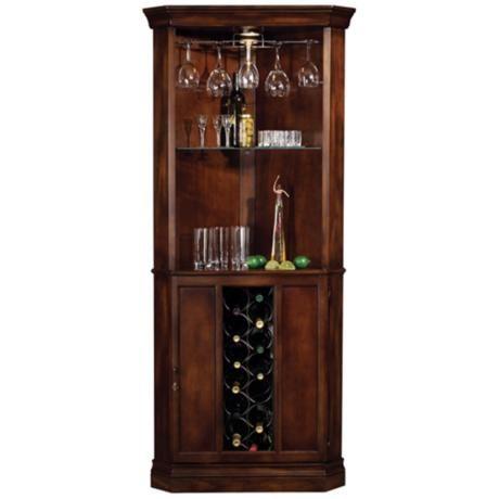 Howard Miller Piedmont Rustic Cherry Corner Bar Cabinet - #R7963 | LampsPlus.com