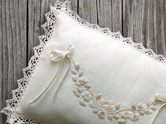 Romantic Wedding Ring Pillow Linen Hand by PenelopeHandmade, £60.00