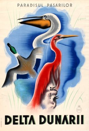 Danube Delta ONT Romania, 1930s - original vintage poster by P Grant listed on AntikBar.co.uk
