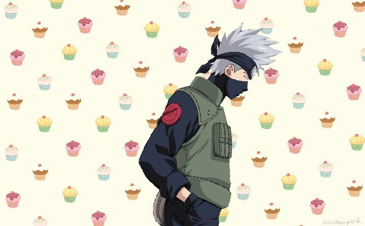 this is a wallpaper edited by me :3 i think it is cuteee. kakashi and cupcakes ^^