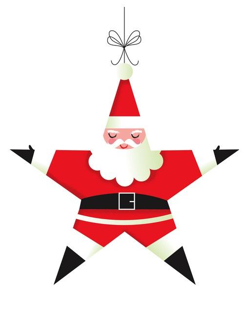 Santa Star Christmas Ornament Illustration