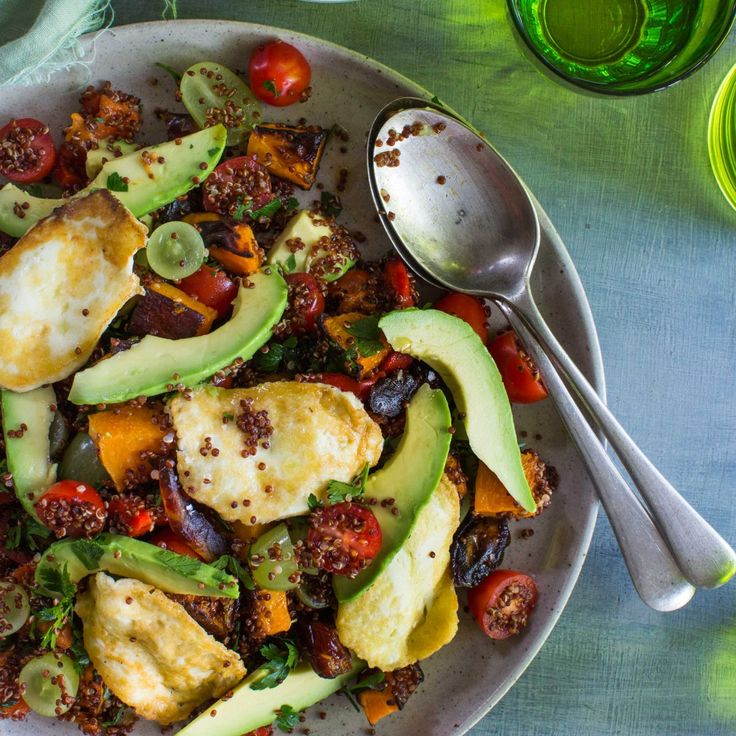 Here's my Avocado, Pumpkin and Haloumi Quinoa Salad that will delight your taste buds! It's a delicious vegetarian dish that everyone will love.