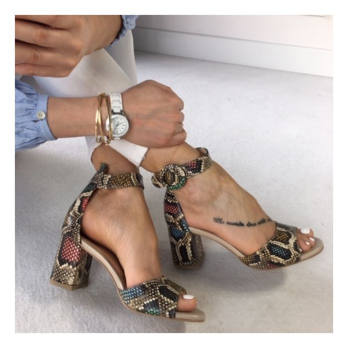 Sandaly Na Slupku W Wezowy Wzor Women Shoes Heels Shoes Sandals