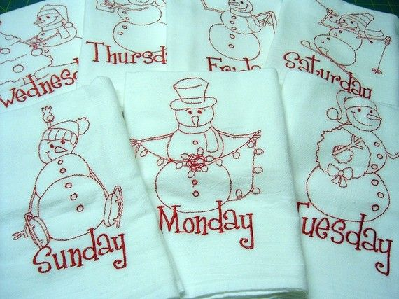 Winter Snowman Quilts | Winter Snowman Christmas Dishtowels, Redwork Embroidery Days of the ...