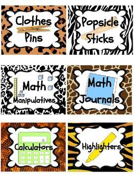 JUNGLE / SAFARI THEME CLASSROOM SUPPLIES LABELS (PENCILS, PAPER, SCISSORS, GLUE) - TeachersPayTeachers.com