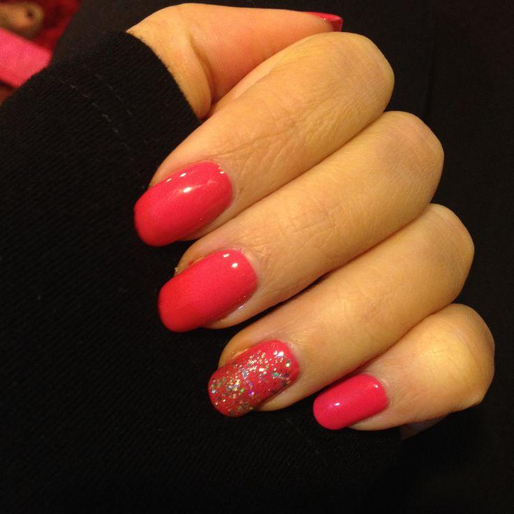 Pink and glitter party nail gel polish nail art