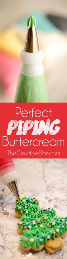 Perfect Piping Buttercream is the absolute best recipe for frosting cakes and cookies with a great consistency just right for piping your beautiful designs. This luscious buttercream frosting is light and airy with added flavor from vanilla and almond extract. #Buttercream #Frosting