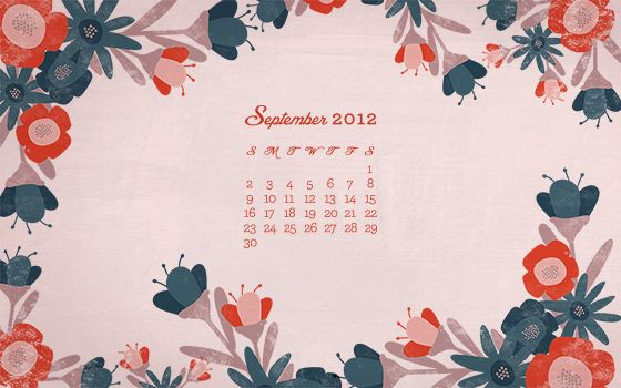 September 2012 Desktop, iPhone & iPad Calendar Wallpaper by Sarah Hearts