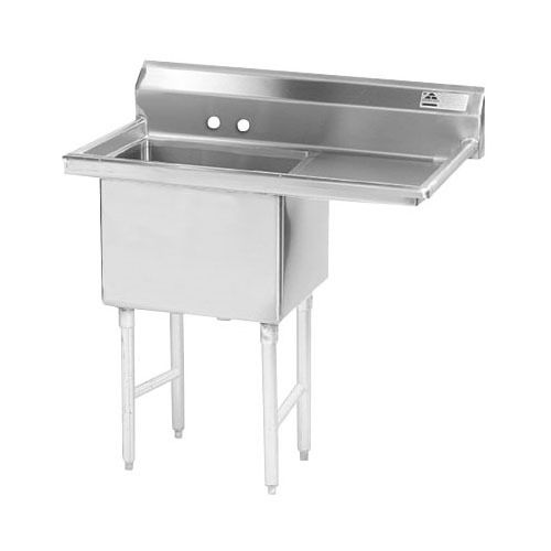 Advance Tabco FE-1-1812-18 One Compartment Stainless Steel Commercial Sink with One Drainboard - 38 1/2