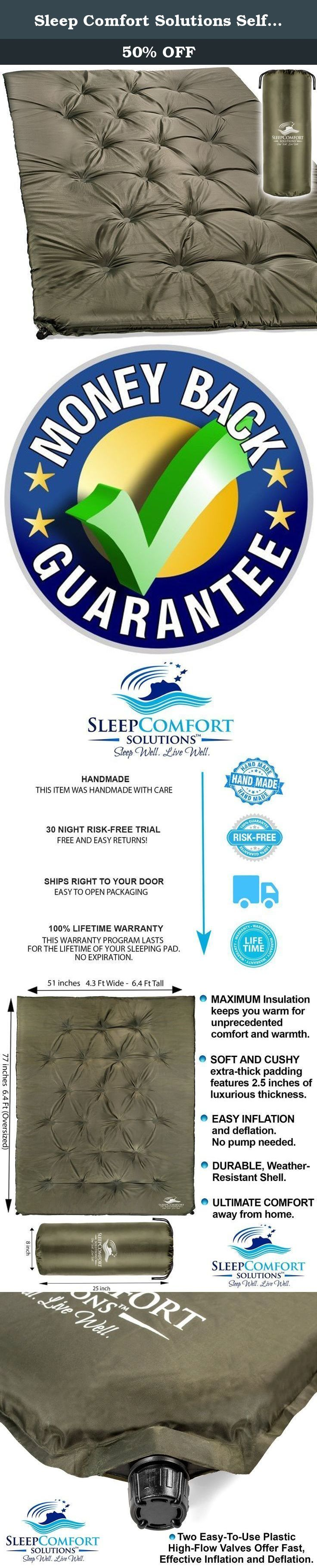 Sleep Comfort Solutions Self-Inflating Sleeping Pad Double XL | Our Most-Comfortable Sleeping Mat in a New Double Size. It Insulates and Cushions Exceptionally Well, Anywhere You're Camping. Sleep Comfort Solutions, Inc. offers the most compact, comfortable, self-inflating sleeping pad double for couples. We bring self-inflating technology to a lightweight pad for two. Perfect for basecamp or car camping. Top Features: • Easy Operating Valves The two easy-to-use plastic valves offer fast...