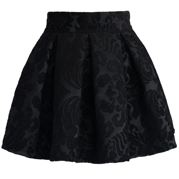 Chicwish Baroque Floral Pleated Mini Skirt ($30) ❤ liked on Polyvore featuring skirts, mini skirts, bottoms, saias, faldas, black, short skirts, short floral skirt, black miniskirt and pleated mini skirt