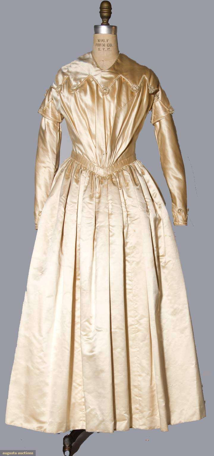 1844   Wedding Gown.  Champagne satin.  Augusta-Auctions.com  November 10, 2010.     suzilove.com