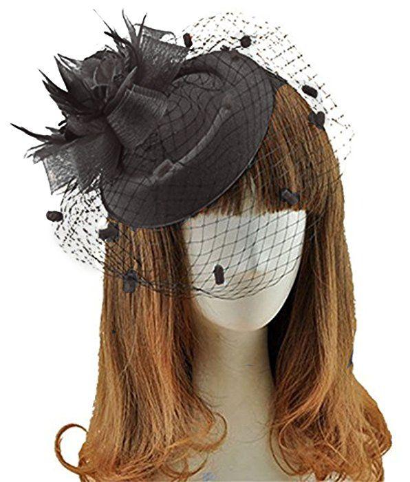 Fascinator Hats Pillbox Hat British Bowler Hat Feather Flower Veil Wedding Hat Black At Amazon Women S Clothing Store Fascinator Wedding Hats Flower Veil