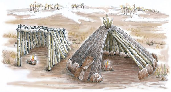 An artistic recreation of Paleo-Indian shelters. Being nomads, Paleo-Indians had to have simple, temporary structures that could be easily taken down, moved, and put back up.
