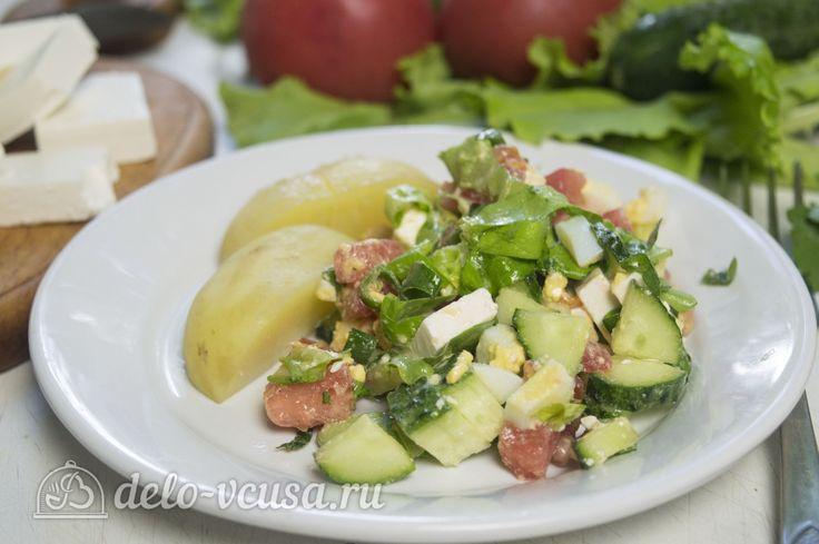 Салат с курицей и фетой #салат #курица  #овощи #мясо #рецепты #деловкуса #готовимсделовкуса